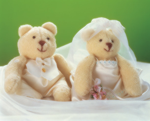 テディベアのカップル ウエディングイメージの写真素材 [FYI03941649]