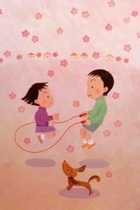 縄跳びする子供 イラストのイラスト素材 [FYI03941714]