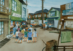 昭和初期の町並のイメージ イラストのイラスト素材 [FYI03941721]