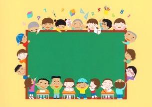 学校生活 黒板と子供たちのイラスト素材 [FYI03942257]