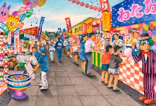懐かしい昭和のお祭りのイラスト素材 [FYI03942347]