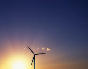 朝日と風車 CGの写真素材 [FYI03943705]