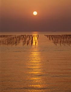 のり田と夕日の写真素材 [FYI03944361]