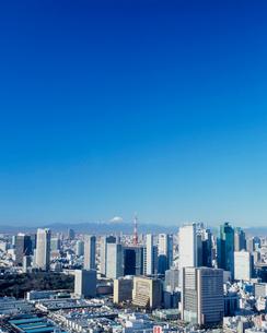 聖路加タワーより望むシオサイトと東京タワーの写真素材 [FYI03944886]