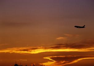 夕日とジェット機の写真素材 [FYI03945025]