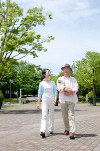 犬を抱いて公園を散歩するシニア夫婦の写真素材 [FYI03948185]
