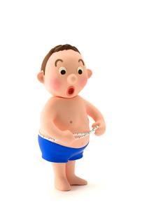 お腹をメジャーで計るメタボな男性の写真素材 [FYI03948285]