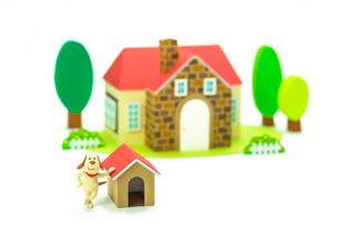 家と犬小屋と犬の写真素材 [FYI03948330]