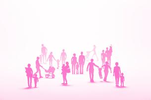 紙の家族たち(ピンク)の写真素材 [FYI03948424]