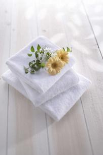 花とタオルの写真素材 [FYI03949361]