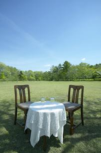 芝にテーブルと椅子の写真素材 [FYI03949431]