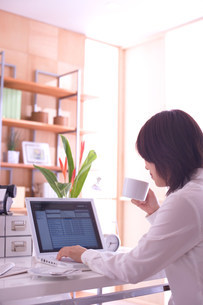 パソコンを使う女性のいる部屋の写真素材 [FYI03951526]
