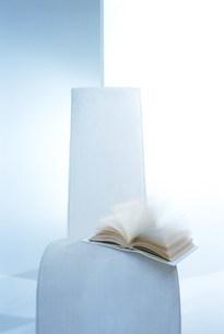 本が乗った白い椅子の写真素材 [FYI03952088]