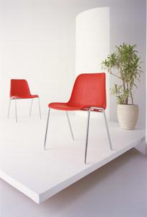 赤い椅子と植物のある空間の写真素材 [FYI03952105]