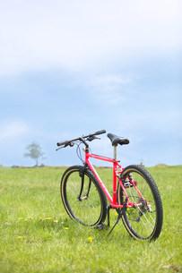 野原の赤いマウンテンバイクの写真素材 [FYI03952320]