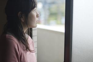 窓の外を眺める女性の写真素材 [FYI03952600]