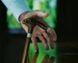 ウサギのステッキに手をおく外国人男性の写真素材 [FYI03952651]