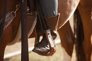 馬に乗った女性の足元の写真素材 [FYI03953096]