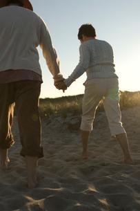 砂浜を歩くシニアカップルの後ろ姿の写真素材 [FYI03953855]