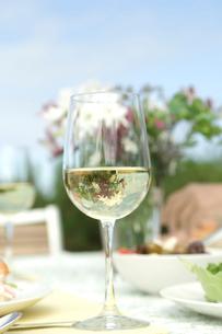 白ワインが入ったグラスの写真素材 [FYI03953877]