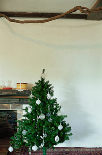 暖炉脇にあるクリスマスツリーの写真素材 [FYI03954260]