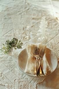 セットされたカトラリーと皿とガラスのツリーの写真素材 [FYI03954334]