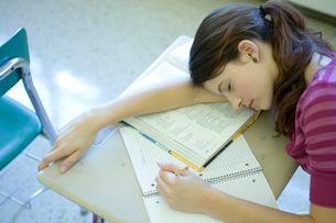 教室で昼寝している女子学生の写真素材 [FYI03954407]