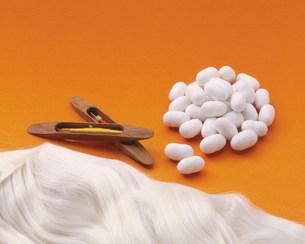蚕のまゆと桑の葉と絹糸の写真素材 [FYI03957299]
