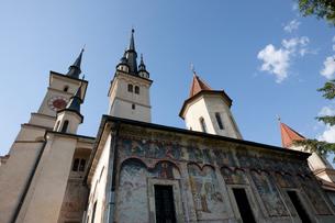 聖ニコラエ教会の外壁のフレスコ画の写真素材 [FYI03957797]