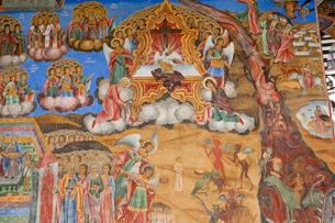 リラの僧院のフレスコ画 聖母誕生教会の写真素材 [FYI03957912]