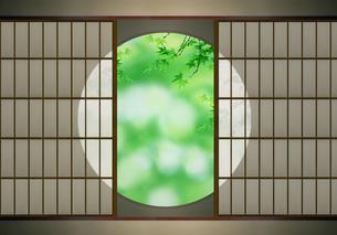 丸窓と青楓の写真素材 [FYI03958071]