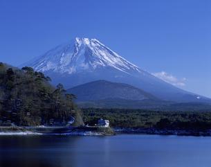 精進湖と富士山の写真素材 [FYI03958370]