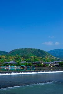 新緑の嵐山 小倉山と桂川の写真素材 [FYI03958838]