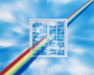 窓と雲と虹のイラスト素材 [FYI03962559]