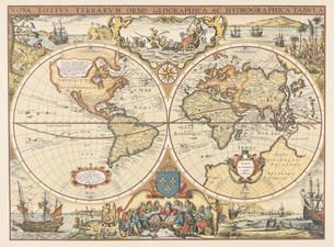 1643年ごろのホンディウスの古い世界地図の写真素材 [FYI03964172]