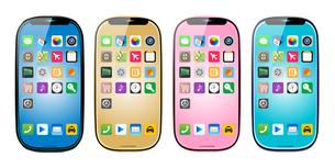 スマートフォン4色アイコンありのイラストのイラスト素材 [FYI03965641]