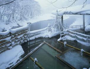 雪の奥利根館露天風呂 水上温泉の写真素材 [FYI03968382]