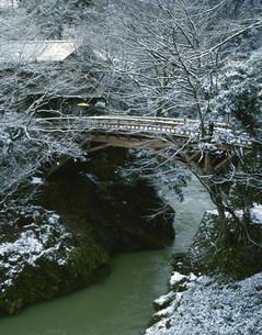 山中温泉の雪のこおろぎ橋の写真素材 [FYI03969195]