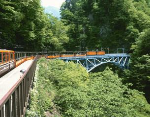 新緑の後曵橋を渡る黒部渓谷鉄道の写真素材 [FYI03969556]