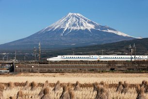 新幹線N700系と富士山の写真素材 [FYI03972810]