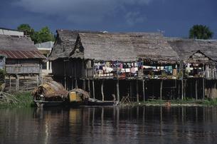 アマゾン河と家々 2月 ブラジルの写真素材 [FYI03974731]