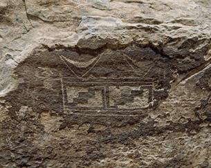 インディアン壁画 ぺトリファイドフォレスト国立公園の写真素材 [FYI03977231]