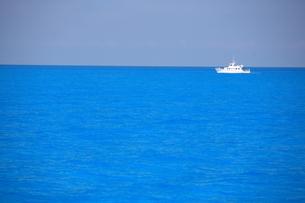 バハマの海とドルフィンリサーチボートの写真素材 [FYI03981885]