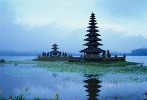 早朝のウルンダヌ寺院ブラタン湖の写真素材 [FYI03982044]