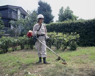 草刈り作業をする女性作業員の写真素材 [FYI03984500]