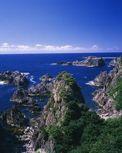 緑の尖閣湾と青い海の写真素材 [FYI03984957]