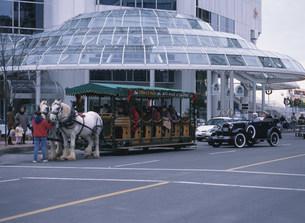 観光馬車とクラシックカーの写真素材 [FYI03984979]