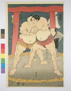 浮世絵 春好 雷電と小野川のイラスト素材 [FYI03985326]