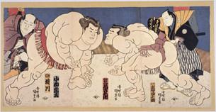 相撲 国貞画のイラスト素材 [FYI03985330]