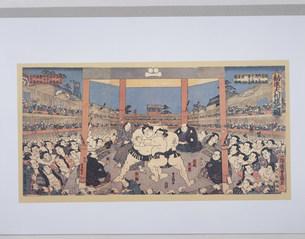 錦絵勧進大相撲之図 豊国画のイラスト素材 [FYI03985334]